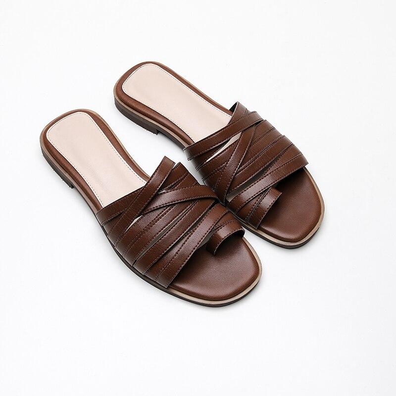 8a3fc6647 Deslizamento Couro Marca Moda Mulas Plana Lâminas 2019 Sapatos Real De  Mulheres Da Luxo Em Designers ...