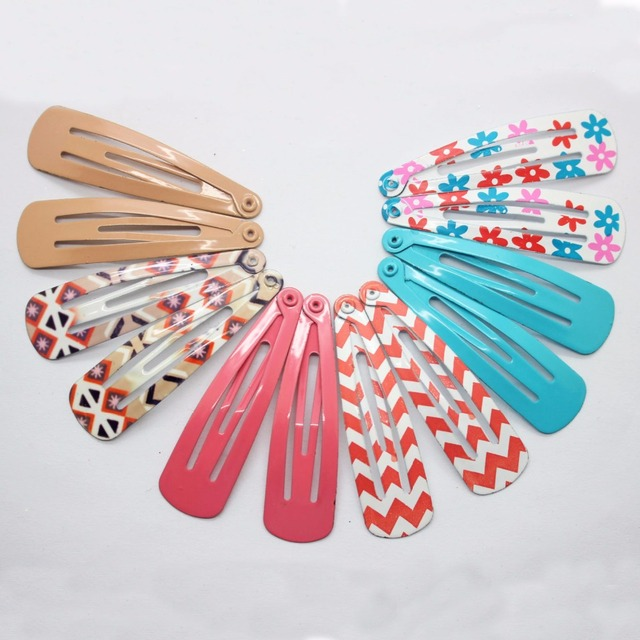 12pcs Lot Printed Stripe Patterns Solid Color Hairpins Metal Snap Hair Clip Accessories