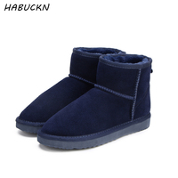 HABUCKN Women Snow Boots 100% Genuine Cowhide Leather Ankle Boots Warm Waterproof Winter Boots Woman Shoes large size 34 44