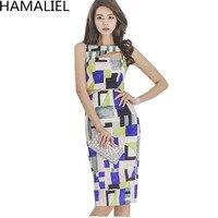 Hamaliel Corea 2018 nuevo verano impresión geométrica lápiz vestido vestidos mujeres sexy ahueca hacia fuera sin mangas bodycon trabajo ropa