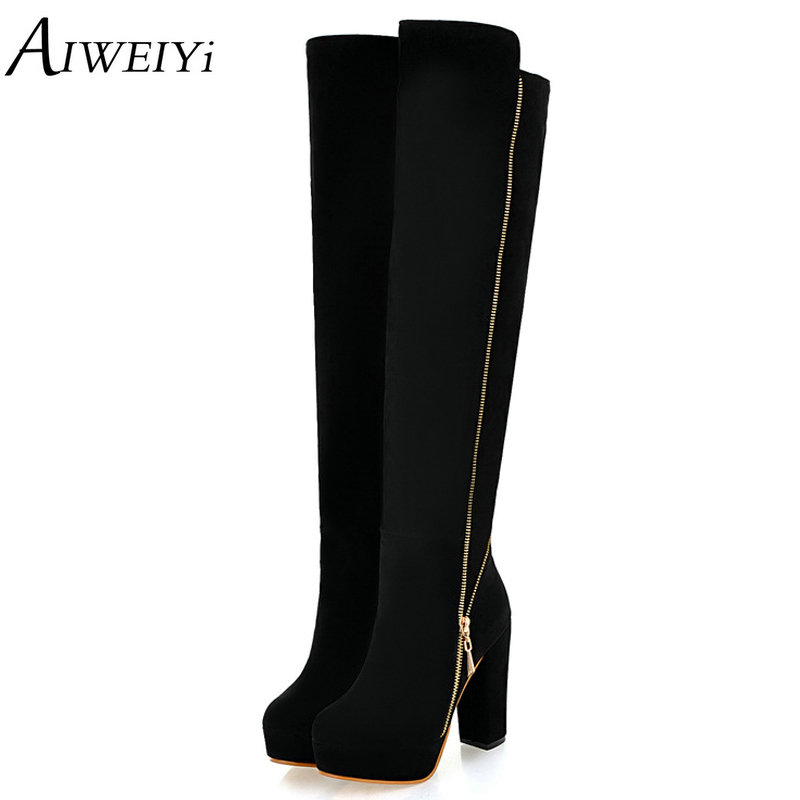 AIWEIYi Women Winter Snow Boots Ladies Western Cowboy Boots Zipper High Heels Snow Boots Shoes Woman Botas Mujer Fur Snow Boots black ankle boots women high heels pointed toe sexy snow boots woman shoes rivets zipper winter women boots botas mujer us35 40