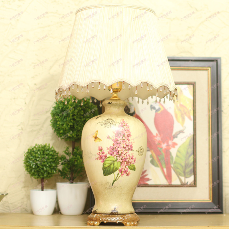 American country style table lamp ethereal luxurious hand-painted ceramic lamp living room bedroom study lamp