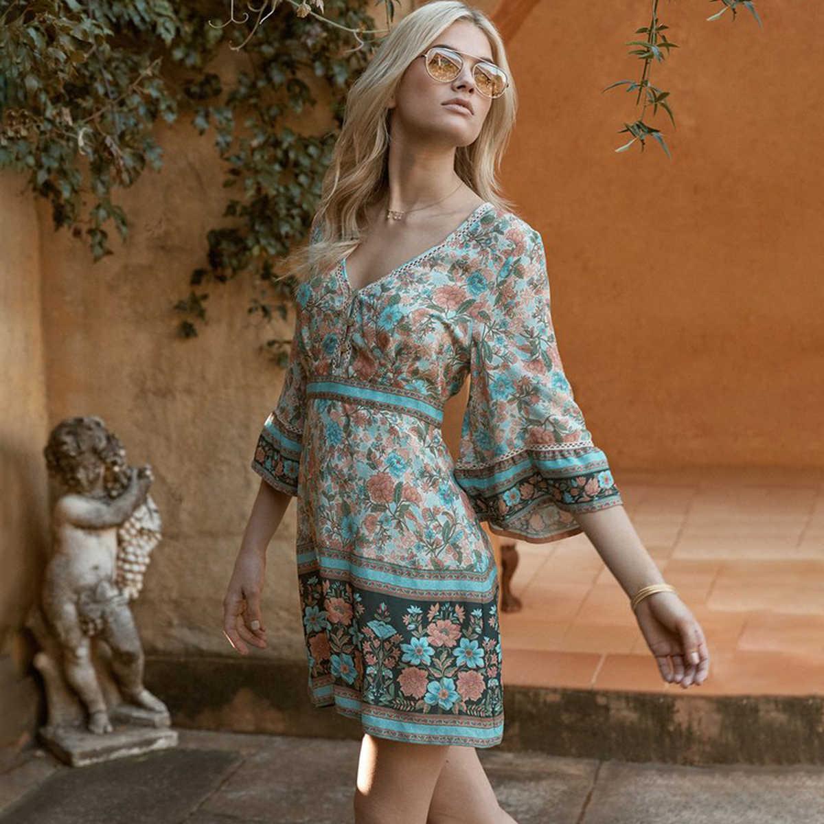 e2415f37dc175 Vintage Chic Floral Long Summer Boho Dress Wrap Bohemian Beach Dress ...