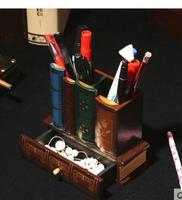 Villa club model shaped wooden box Vintage book desk pen office decoration incorporating the remote control with a small drawer