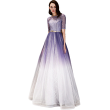 Beauty Emily Long A line Lace Purple Evening Dresses 2019 for Women Plus Size Wedding Party Prom Free Shipping