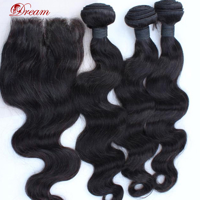 On Sale 6A Unprocessed Brazilian Body Wave Virgin Hair With Closure 3 Way/Part 4pcs/lot Human Hair Extension