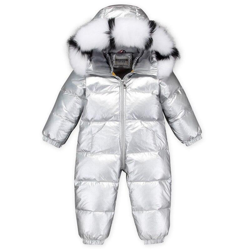 Dollplus 2019 barboteuse bébé fille vraie fourrure enfants barboteuses d'hiver pour garçon vers le bas epaissir salopette chaude bébé Onesie combinaisons