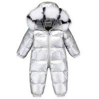 Dollplus 2019 Baby Girl Romper Real Fur Kids Children's Winter Rompers for Boy Down Thicken Warm Overalls Baby Onesie Jumpsuits
