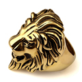 NYUKI Hip Hop Unique Stainless Steel Exaggerated Personality Retro Styling Gothic Lion King Head Gold Ring For Men Women Gift