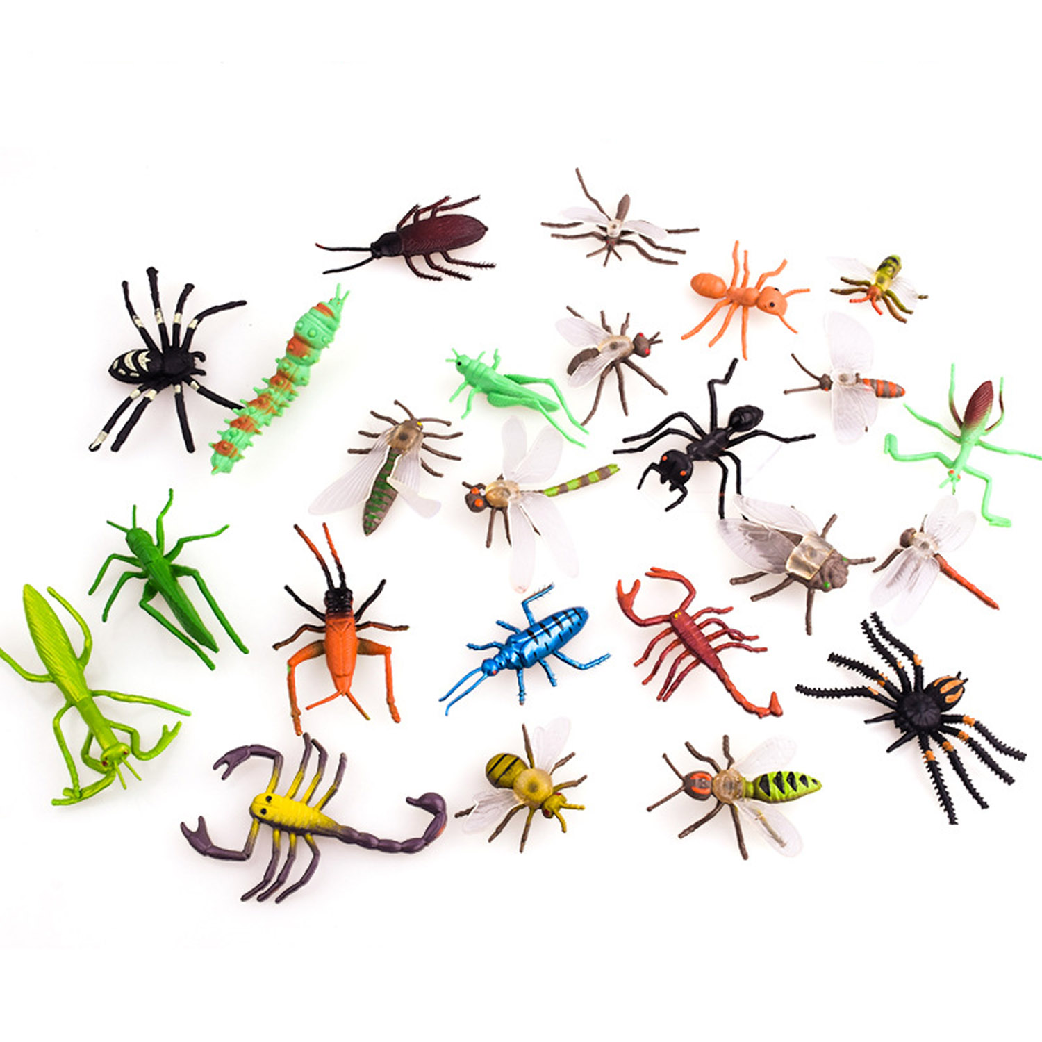 12PCS Simulation Plastic PVC Mini Insect Animals Models Spider Cockroach Beetle Grasshopper Dragonfly Ant Mantis Educational Toy