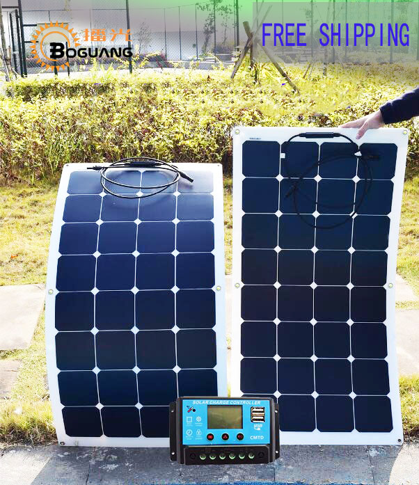 BOGUANG Solar panel 200W foldable flexible solar panel 100w 2pcs 21% high efficiency for caravan car RV boat battery charger 50w 12v semi flexible monocrystalline silicon solar panel solar battery power generater for battery rv car boat aircraft tourism