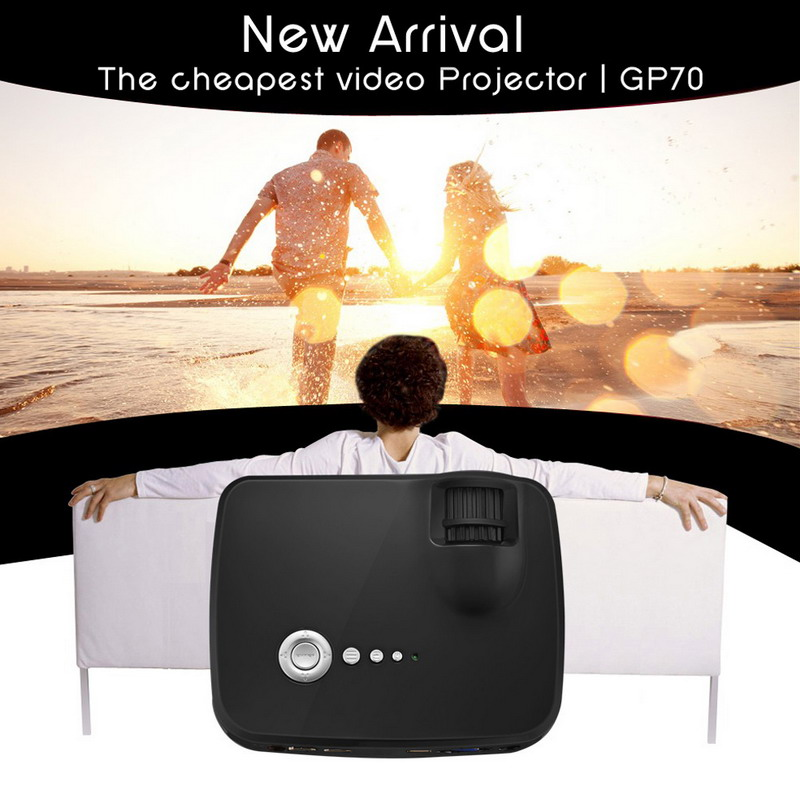 Mini GP70 Mini Portable LED Projector 800x600 1200 Lumens VGA AV USB SD HDMI font b