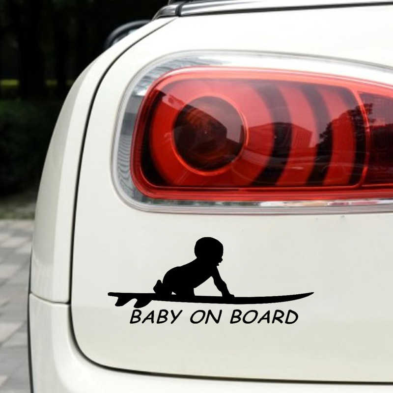 Etiqueta do carro 15.3*6.4cm Baby On Board Prancha de Surf Surf Engraçado Decalque Do Carro Reflexivo Etiqueta Do Carro de Vinil A Laser 3D Car Styling
