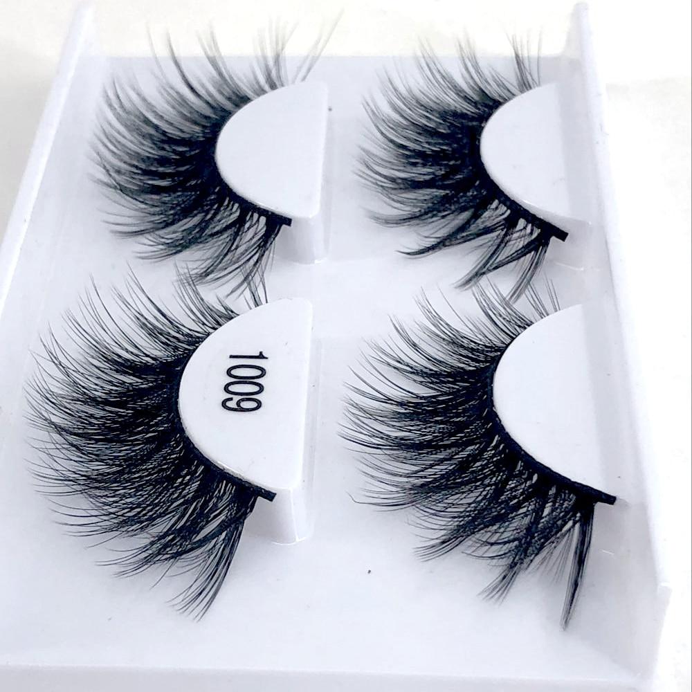 02fc497e8df HBZGTLAD 2 pairs natural false eyelashes fake lashes long makeup 3d mink  lashes eyelash extension mink