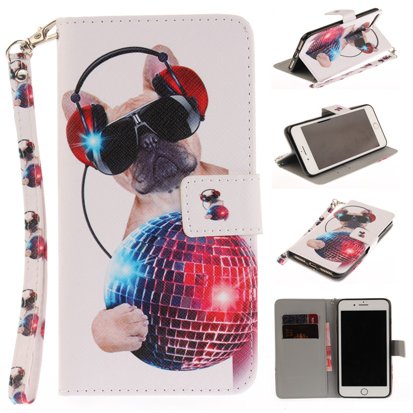 Fundas TPU Case For iphone7 iphone7 Plus PU Leather Flip Wallet Stand Cover Animal Pattern Phone Shell Coque