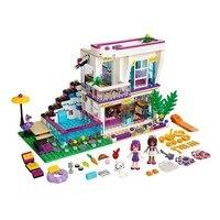 BELA 619 Pcs 10498 Friends Series Livi S Pop Star House Andrea Mini Doll Building Blocks