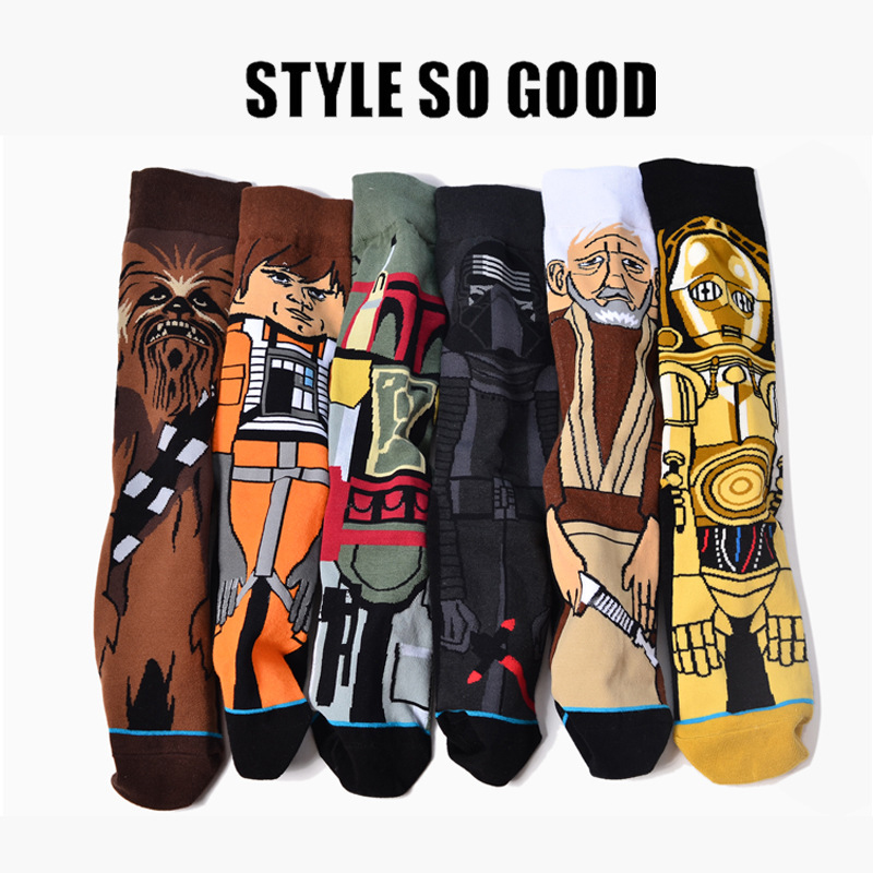 2018 Star Wars Sale Hot Autumn And Winter New Cartoon Funny Men Socks Stockings Planet Battle Vader Socks