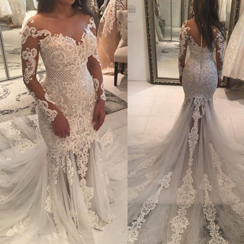 DZW157 Vestido De Noiva 2019 Lace Wedding Dresses Mermaid V-neck Appliques Pearls Saudi Arabic Wedding Gown Bridal Dresses