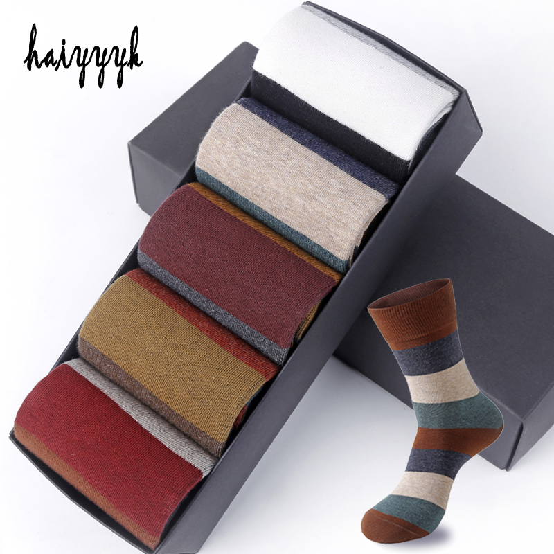 Men's Combed Cotton Socks Fashion Colorful Large Stripe Harajuku Four Seasons Casual Socks Men Size 39-44 5Pair/Lot