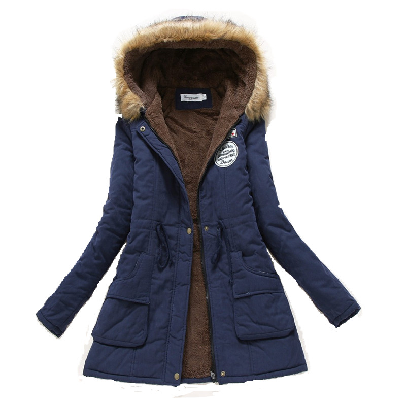 2017 Winter Coat font b Women b font jacket Parka Casual Outwear Military Hooded Thickening Cotton
