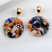Bohemian Colourful Acrylic Earrings for Women Geometric Design Round Drop Earrings Elegant Jewelry Women Accessories Pendientes