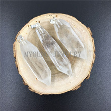 MY0792 Raw Crystal Quartz Pillar Point Pendant, Smooth Clear Spike Pendant with Silver Color Bail