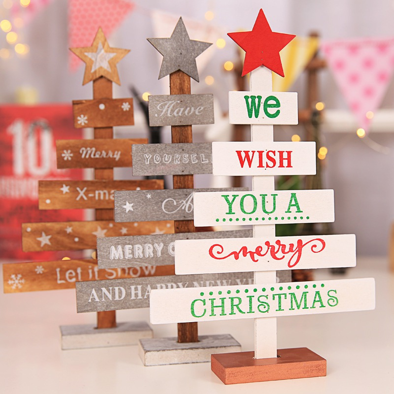 Christmas Wood Crafts.Us 2 1 35 Off Christmaswooden Decoration Ornaments Christmas Tree Decoration Wood Crafts Home Christmas Party Decoration Christmas Wooden Pile In