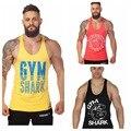 Nueva marca gimnasio singletes tiburón Mens Tank Tops autónomo culturismo de equipos de Fitness hombres GYM Tank camisas , ropa deportes
