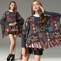 2019 New Autumn Women Sweater Plus Size Oversized Sweater Vintage Geometric Jacquard Tassel Hem Cloak Sweater Casual Women Coats