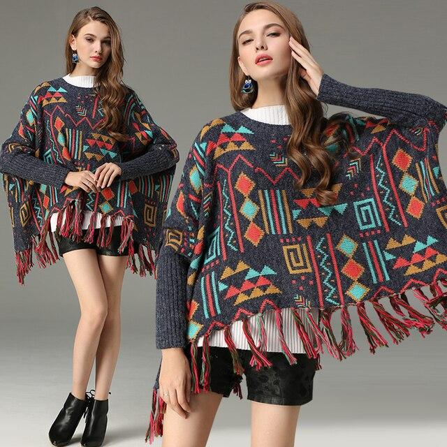 2019 חדש סתיו נשים סוודר בתוספת גודל גדול סוודר בציר גיאומטרי אקארד טאסל Hem גלימת סוודר מזדמן נשים מעילים