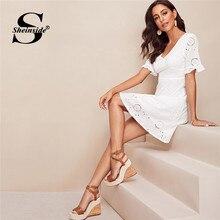 b0533fd5f5 Sheinside blanco volantes brazalete bordado vestido elegante de cintura  alta línea vestidos de verano volante manga vestido