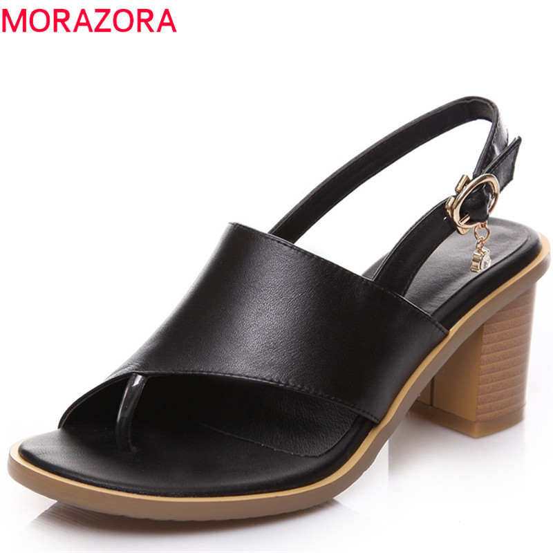 MORAZORA 2018 new style genuine leather summer shoes simple buckle women sandals elegant dress shoes fashion high heels shoes abierto mexicano los cabos wednesday page 3