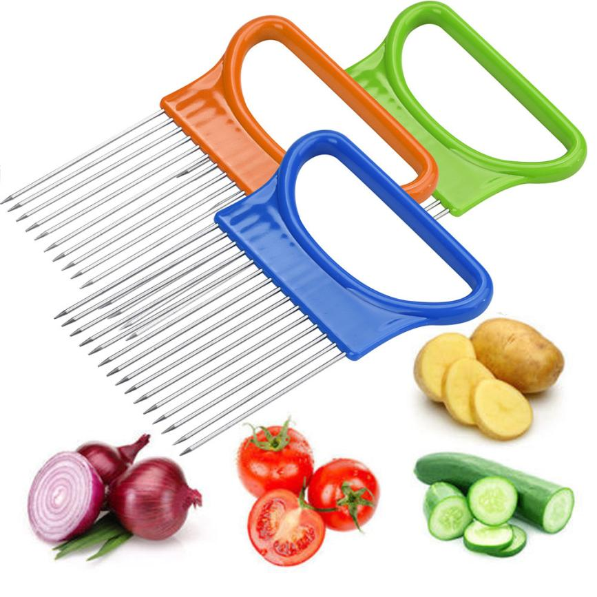 Tomato Onion Vegetables Slicer Cutting Tool Stainless steel Aid Holder Guide Slicing Cutter Safe Fork 2JY26