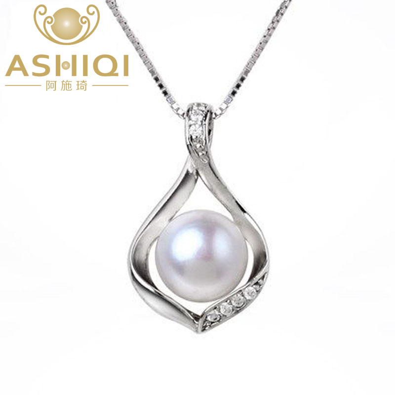 ASHIQI Real Natural Pearl Pearl necklace & Pendants 925 стерлинговые күміс 9-10mm інжу-маржаны