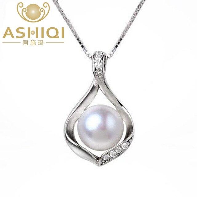 Ashiqi натуральным пресноводным жемчугом ожерелье и Подвески 925 серебро 9-10 мм жемчужные украшения
