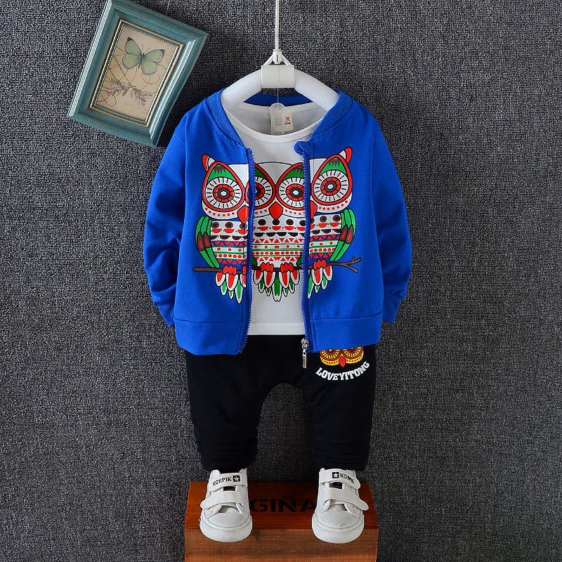 2018 New Autumn Baby Girls Boys Clothes Sets Children Cartoon Cotton Coats T Shirt Pants 3 Pcs Infant Kids Active Suits malayu baby kids clothing sets baby boys girls cartoon elephant cotton set autumn children clothes child t shirt pants suit