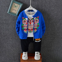 2018 New Autumn Baby Girls Boys Clothes Sets Children Cartoon Cotton Coats T Shirt Pants 3