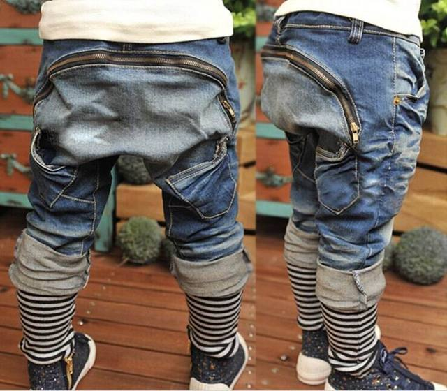 Spring Autumn Boy Jeans Zipper Haren pants Loose Long Jeans Children Clothing K0122