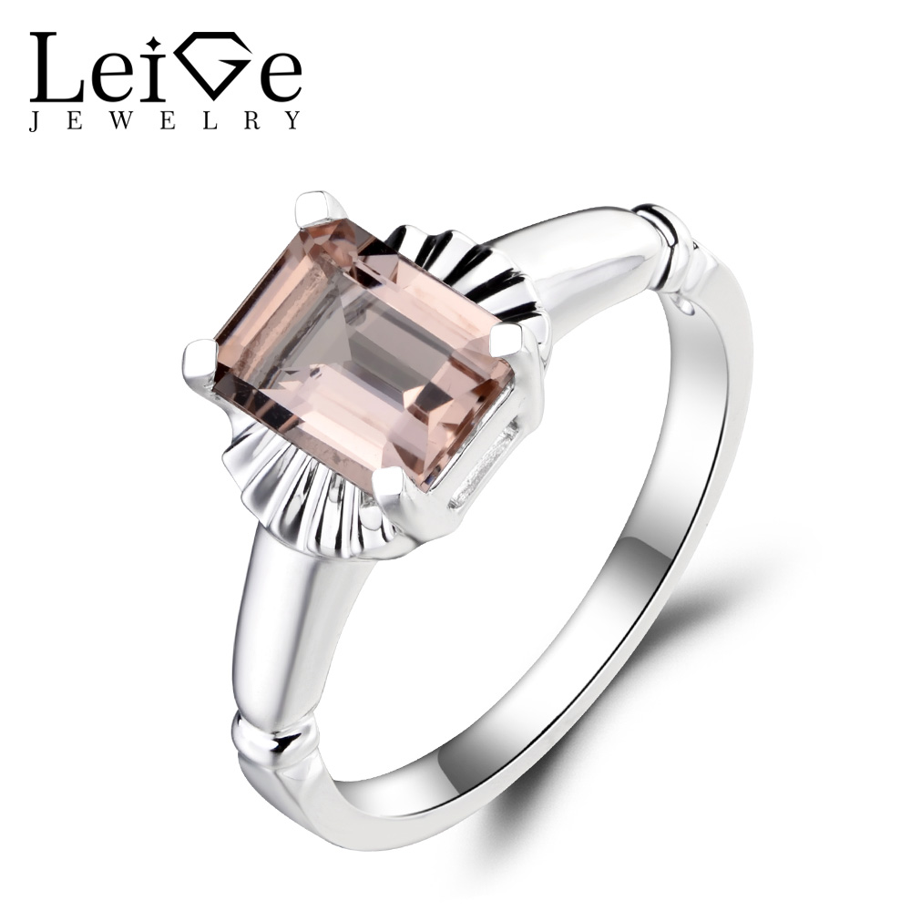 Leige Jewelry Genuine Natural Pink Morganite Ring Engagement Ring Emerald  Cut Gemstone Solid 925 Sterling Silver