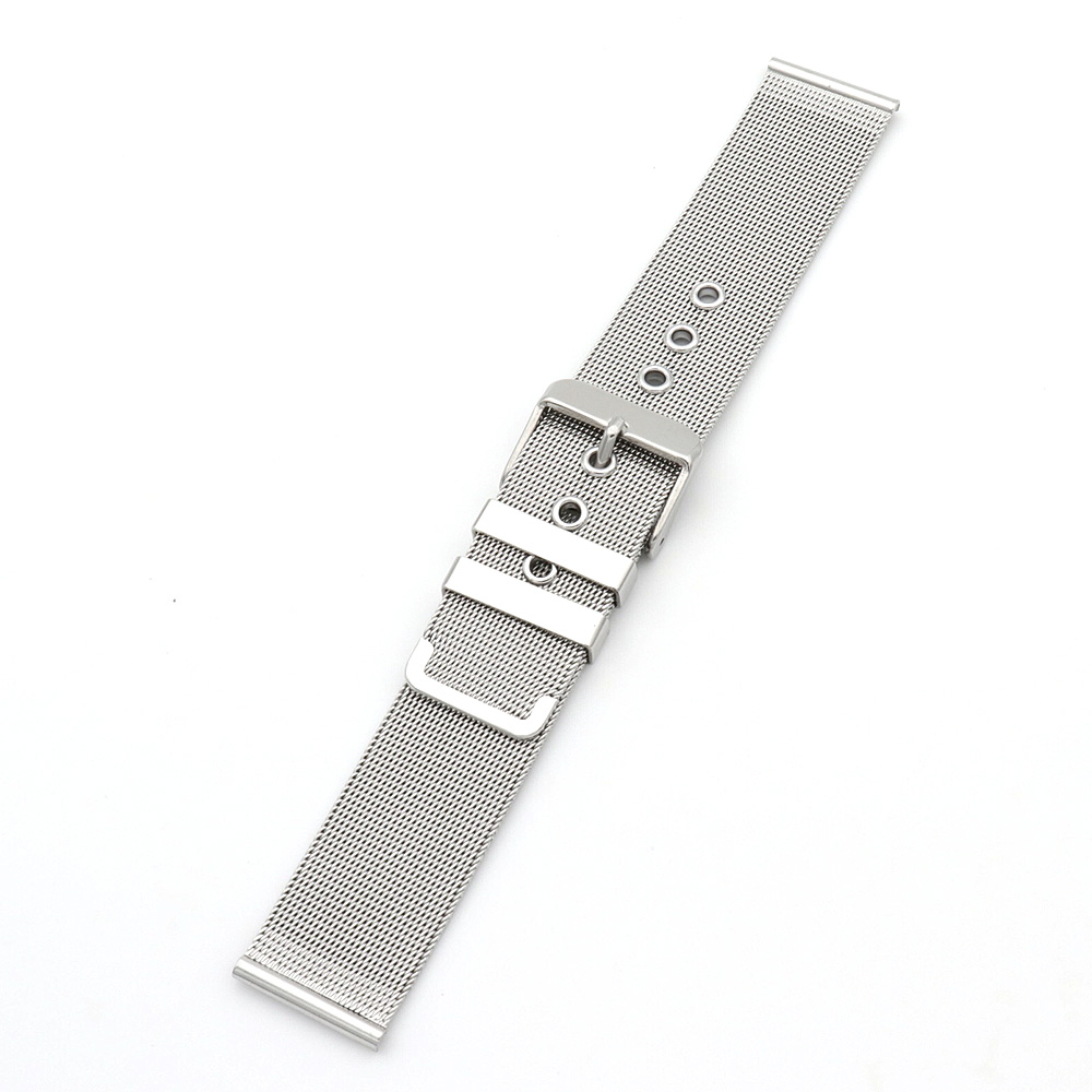 18 20 22 24mm Silver Top Stainless Steel Bracelet Wristband Exchange Watchband Watch Band Belt Loop With Pin Buckle in Watchbands from Watches