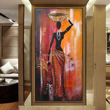 hand painted figure oil painting african woman canvas art Classical large vertical africa girl wall decorative picture
