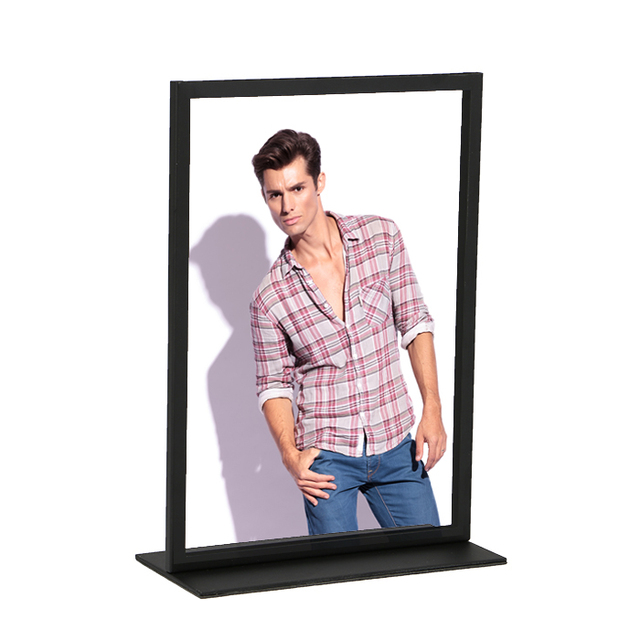 Stainless Steel Metal Photo Frame A4 A3 Metal Poster Display Stand Advertising Label Holder Rack Restaurant Table Menu Stand
