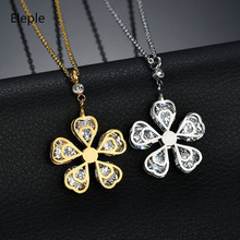 Eleple Elegant Stainless Steel White Zircon Flower Necklace Earring Sets for Women Party Exquisite Jewelry Set Factory S089 цена и фото