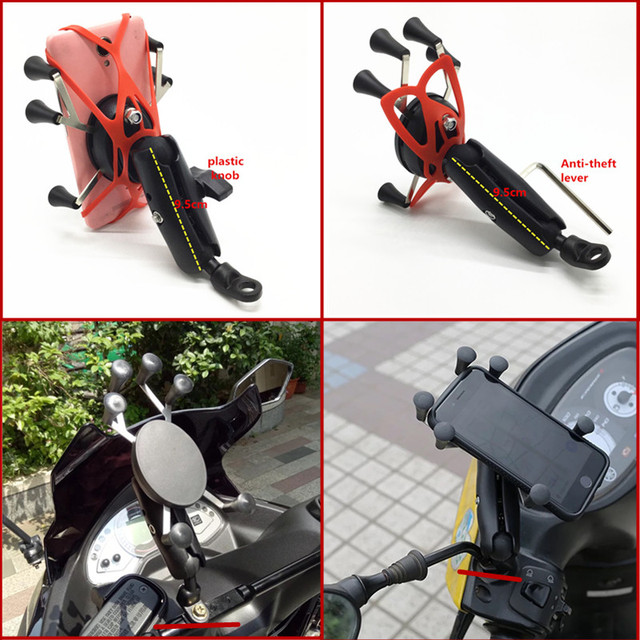 Motorcycle Angled Base W/ 10mm Hole 1 Inch Ball Head Adapter + Double Socket Arm + Universal X Grip Phone Holder for RAM Mount