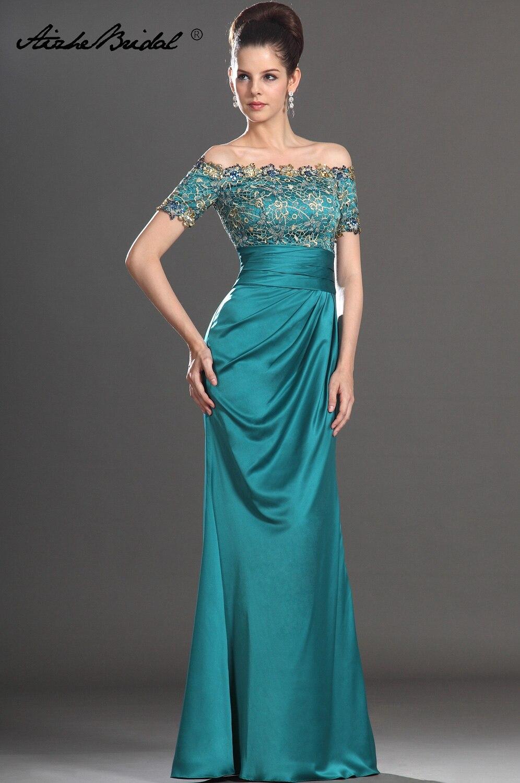 Magnifique une ligne à manches courtes mère de la mariée robe bateau cou sarcelle Satin longue formelle robe de femmes