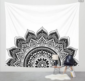 Image 4 - Nuevo estampado de tapiz de loto mándala Bohemia, tapiz colgante de pared para decoración de pared, tapiz Hippie, estera de playa, estera de Yoga