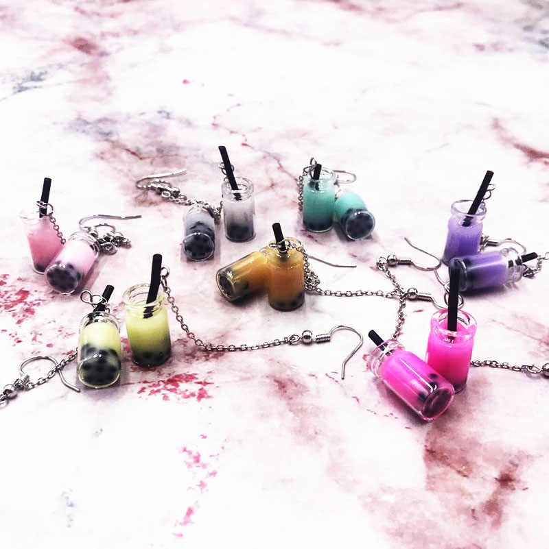 Creative Unique Bubble Pearl Milk Tea Drop Earrings Personality Resin Milk Tea Drink Earring for Girl Women Funny Party Jewelry