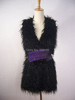 Black medium long wool fur vest
