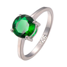 Classic Style Simulated Emerald 925 Sterling Silver Wedding Party Fashion Design Romantic Ring Size 5 6 7 8 9 10 11 12 PR20(China)