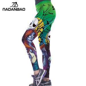 Image 4 - NADANBAO Halloween Jack Skellington Leggings Women The Nightmare Before Christmas Plus Size Pants Digital Print Fitness Leggins